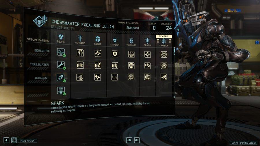 the spark skill tree screen