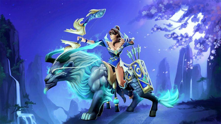 Dota 2 hero Mirana aiming her arrow on the back of her steed