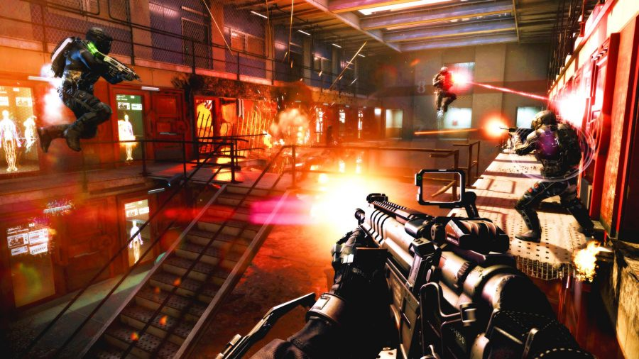 First-person shooting combat in Call of Duty Advanced Warfare