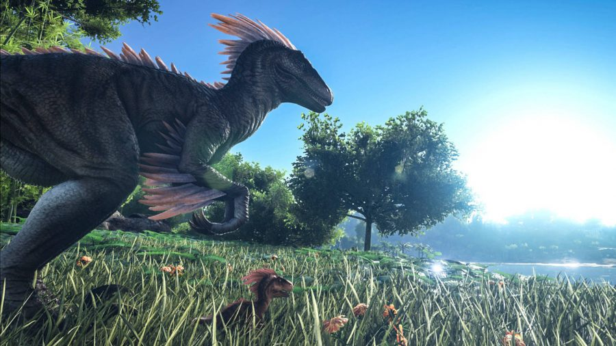 Some dinosaurs in Ark Survival Evolved.