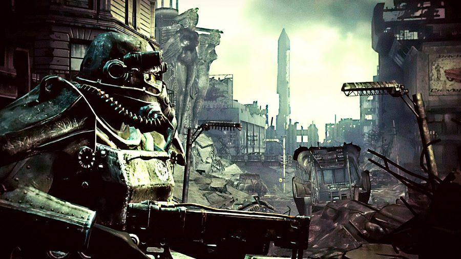 Brotherhood of Steel soldier surveying the horizon in post-apocalyptic DC
