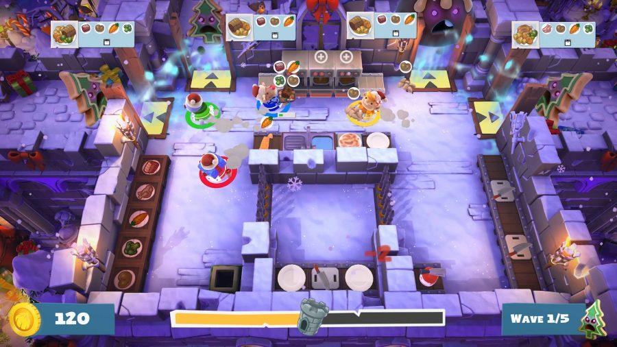 Снежный рождественский уровень в Overcooked 2