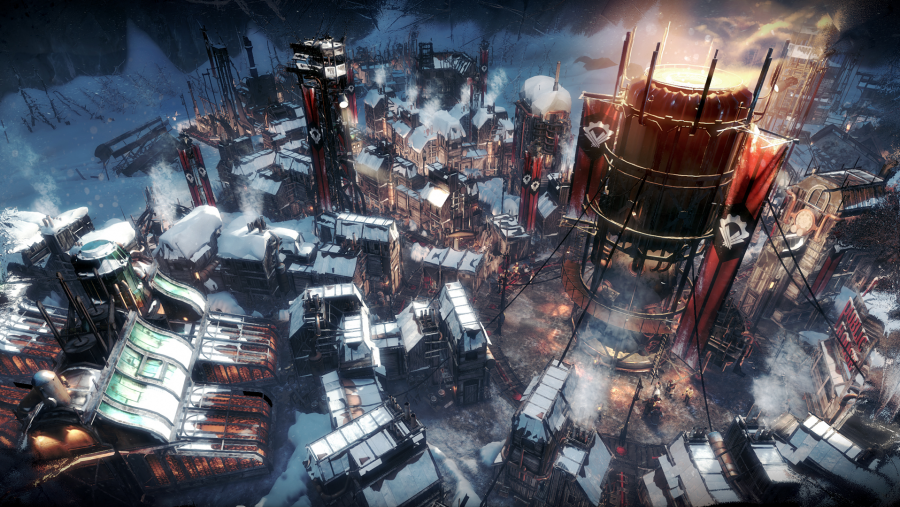 A built up colony in Frostpunk, one of the best management games