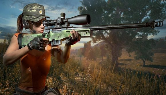 A sniper takes aim in PlayerUnknown's Battlegrounds, one of the best sniper games