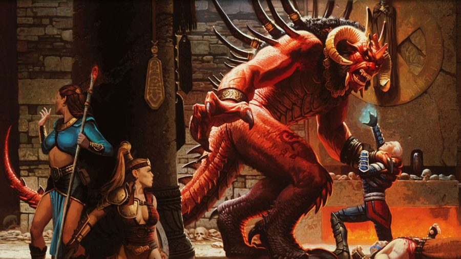 Female fighters hide from a monster in one of the best old games, Diablo II