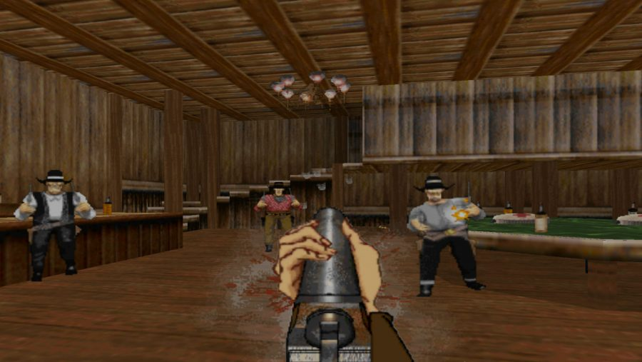 A shootout in a bar in Outlaws, one of the best old games