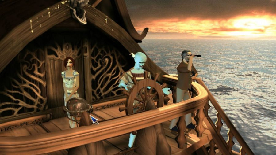 An assortment of intriguing characters at the helm of a ship in The Longest Journey, one of the best old games