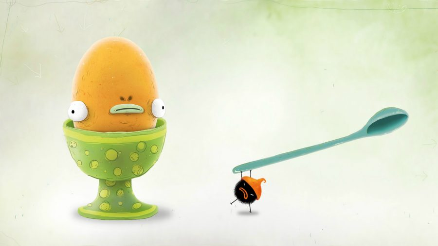 A gormless looking cartoon egg is threatened by a mite wielding a spoon in one of the best adventure games, Chuchel