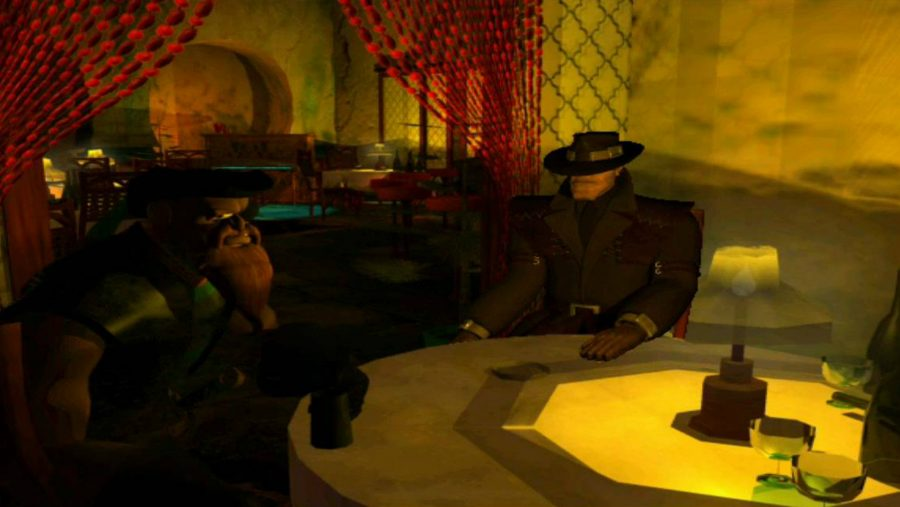 A shady conversation in the back room of a tavern in one of the best adventure games, Discworld Noir