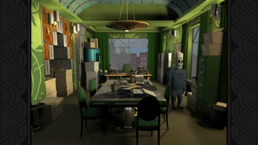 The protagonist Manny Calavera explores a green-walled room in one of the best adventure games, Grim Fandango
