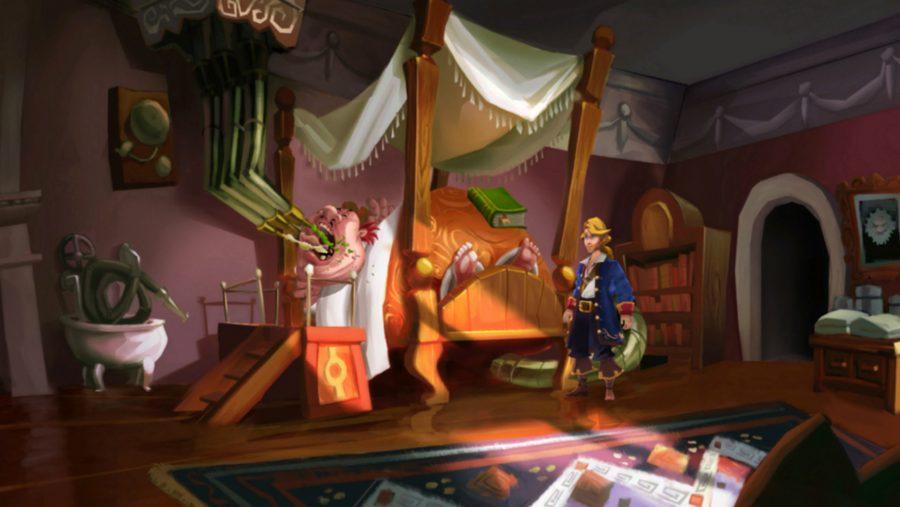 A bedbound man inhales food in one of the best adventure games, Monkey Island 2