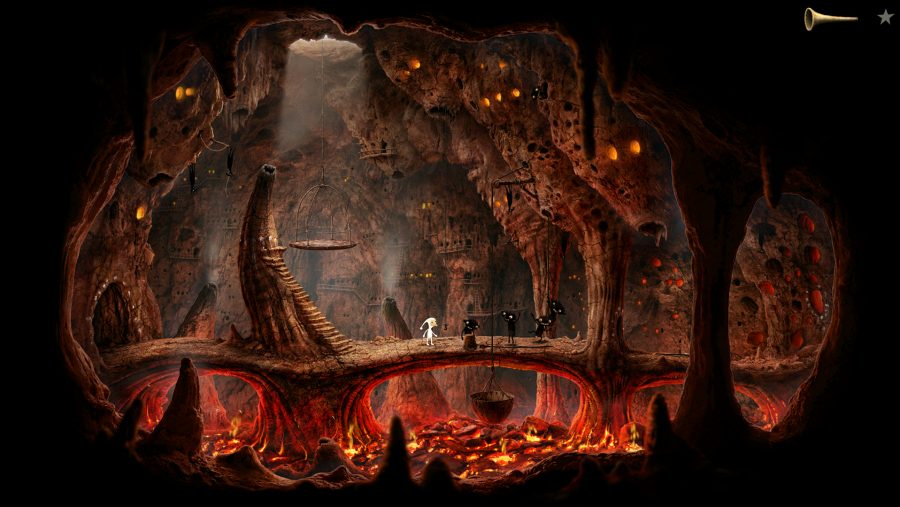 A lava filled cavern in one of the best adventure games, Samorost 3