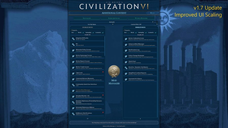 a shot of the mod manager in civ 6