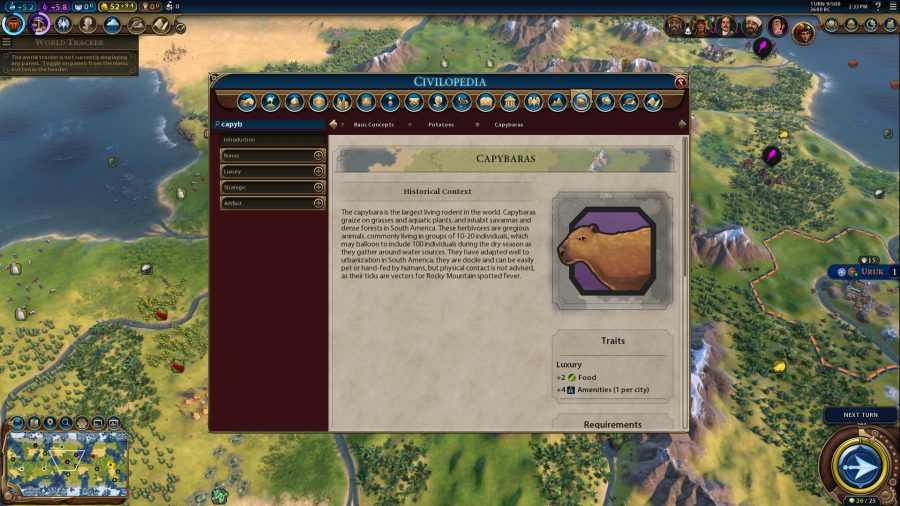 A shot of the in-game encyclopaedia for Capybara