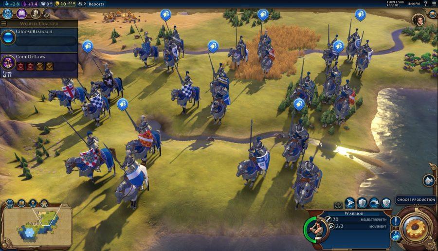 A shot of many knights on horseback