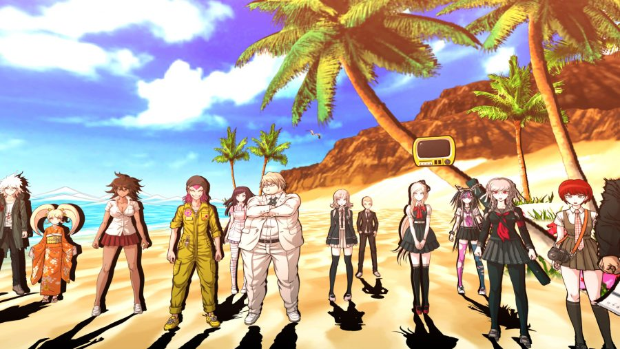 An assortment of anime characters on a beach in Danganronpa 2: Goodbye Despair, one of the best anime games on PC