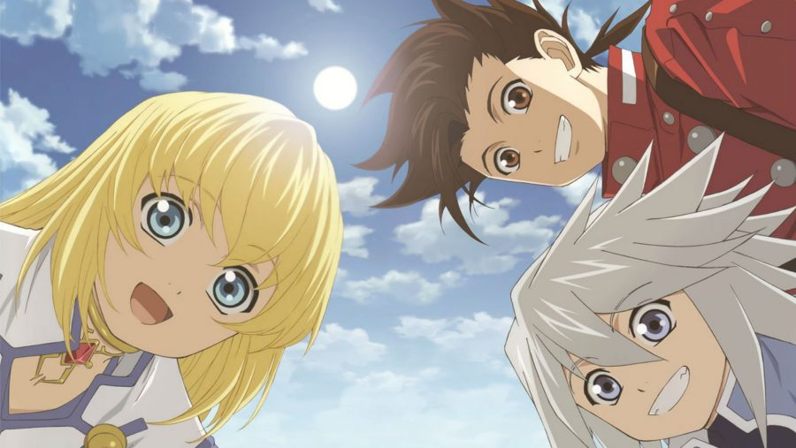 Three grinning characters against a cloudy sky in one of the best anime games, Tales of Symphonia