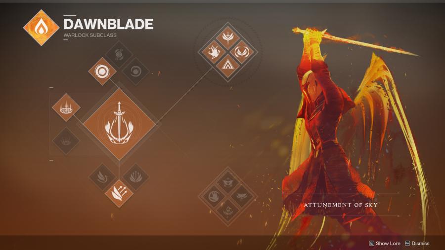 Destiny 2 Warlock Dawnblade class tree