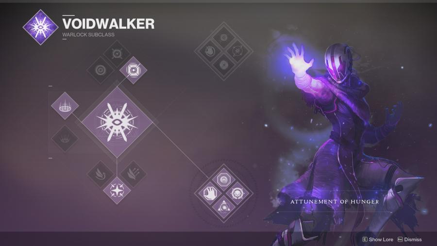 Destiny 2 Warlock Voidwalker class tree