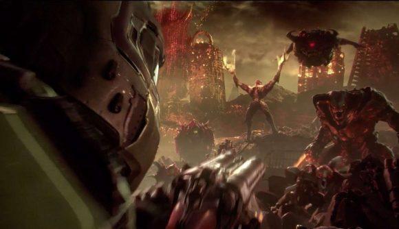 Doom Eternal over shoulder