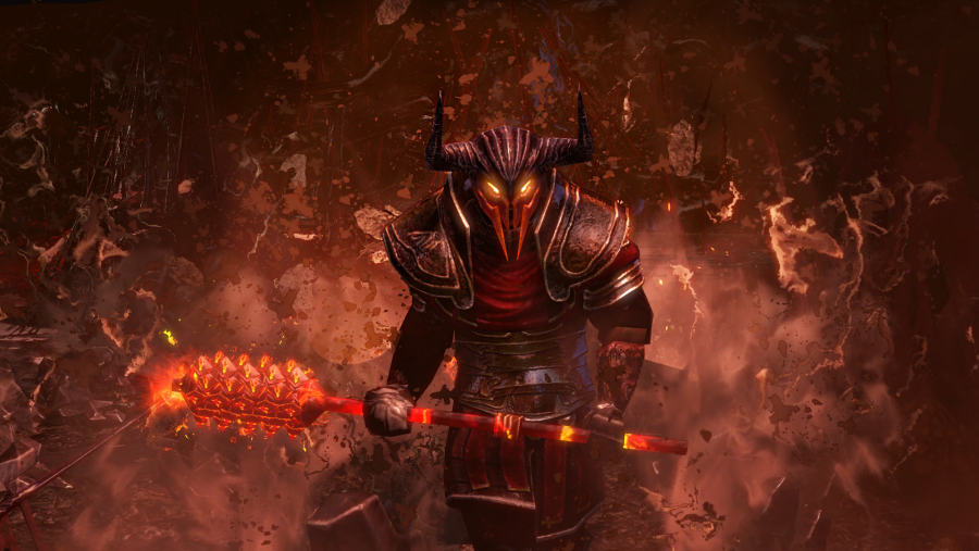 A menacing figure holding a smouldering weapon in one of the best free Steam games, Path of Exile