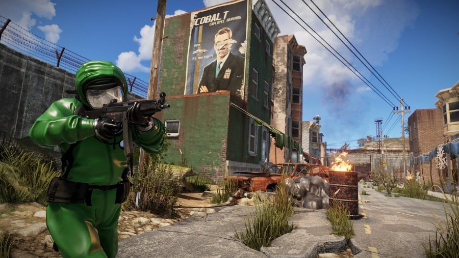 A character in green armour navigates a run down city in Rust, one of the best survival games