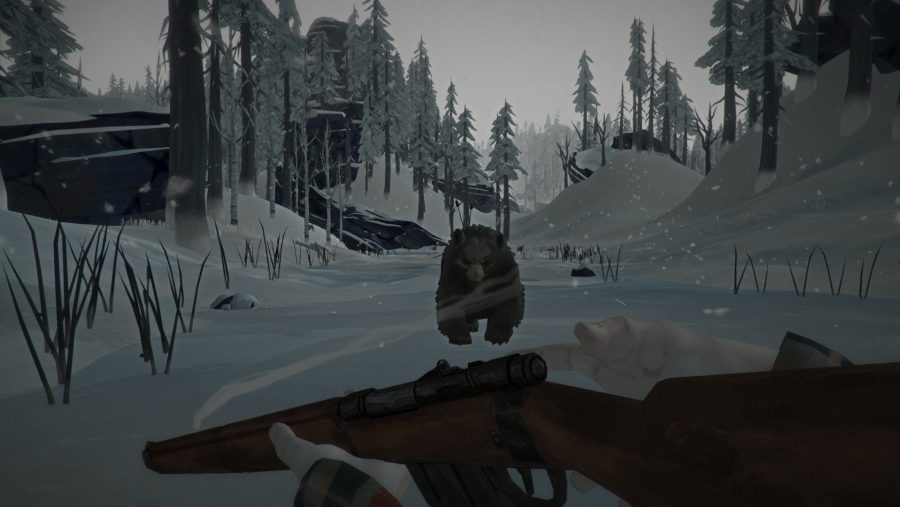 A bear approaches on the ice in one of the best survival games, The Long Dark