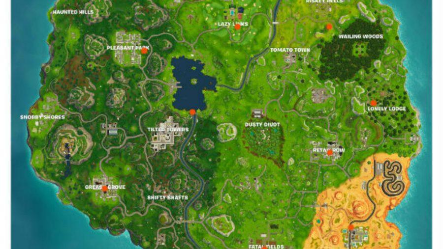Fortnite Birthday Cake locations map
