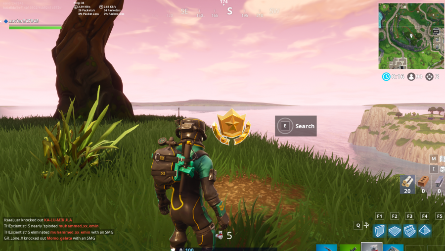 Fortnite search between three oversized seats location screenshot
