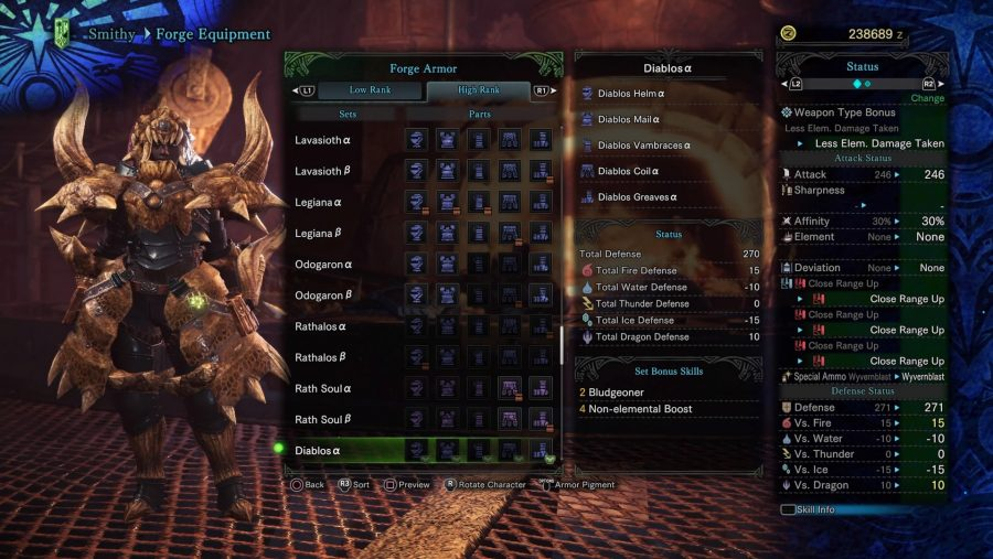 Monster Hunter armour - Diablos