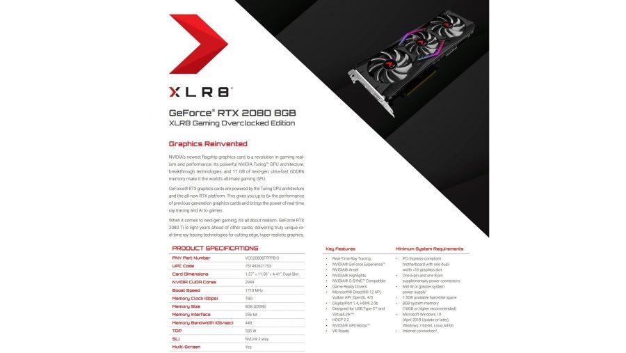 PNY RTX 2080 specs
