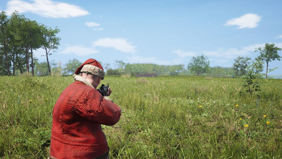 A man dressed as santa in one of the best survival games, Scum