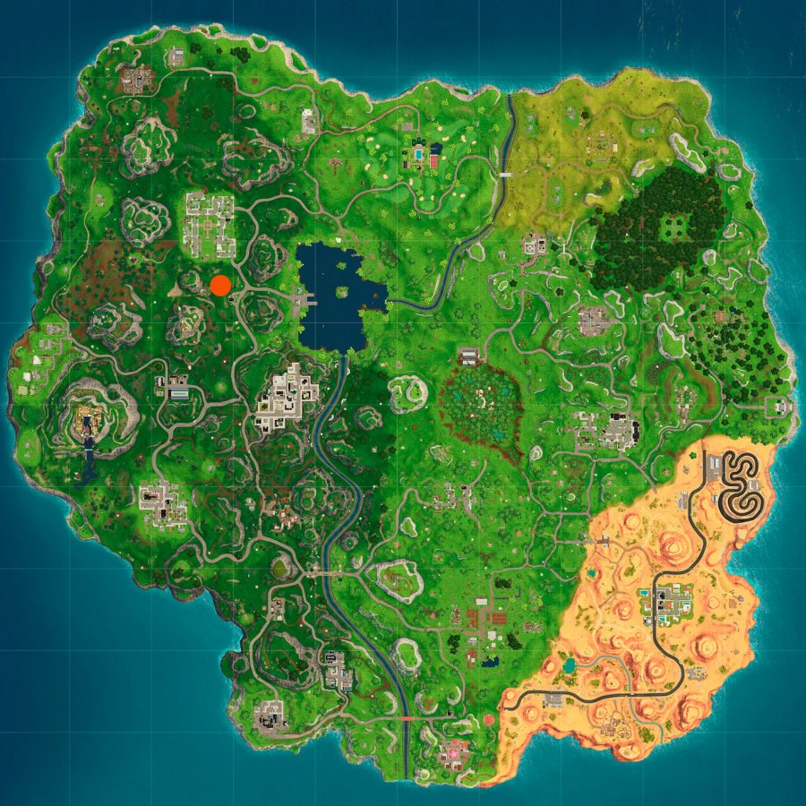 Fortnite search between a gas station soccer pitch and Stunt Mountain location map