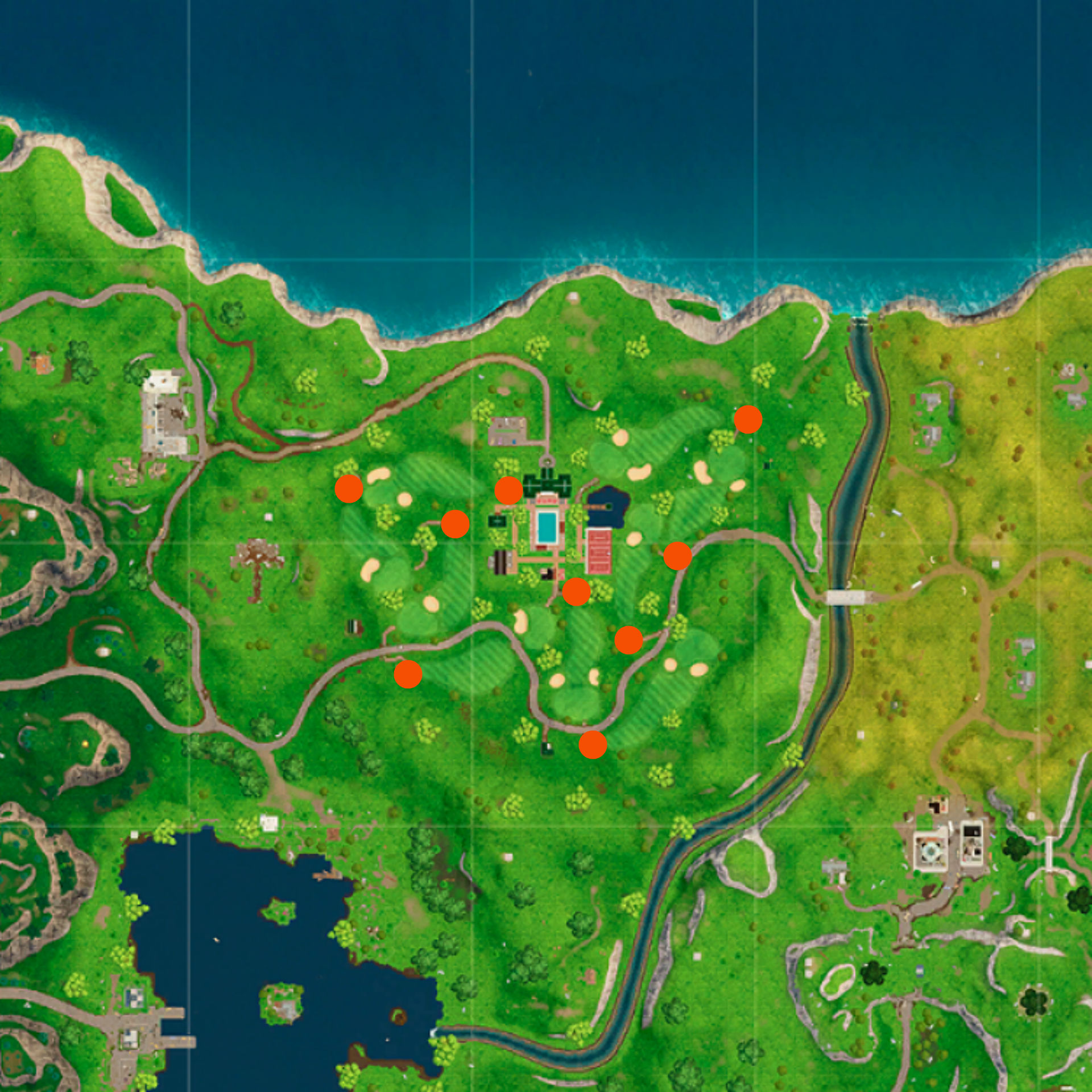 Fortnite: hit a golf ball from tee to green on different holes map