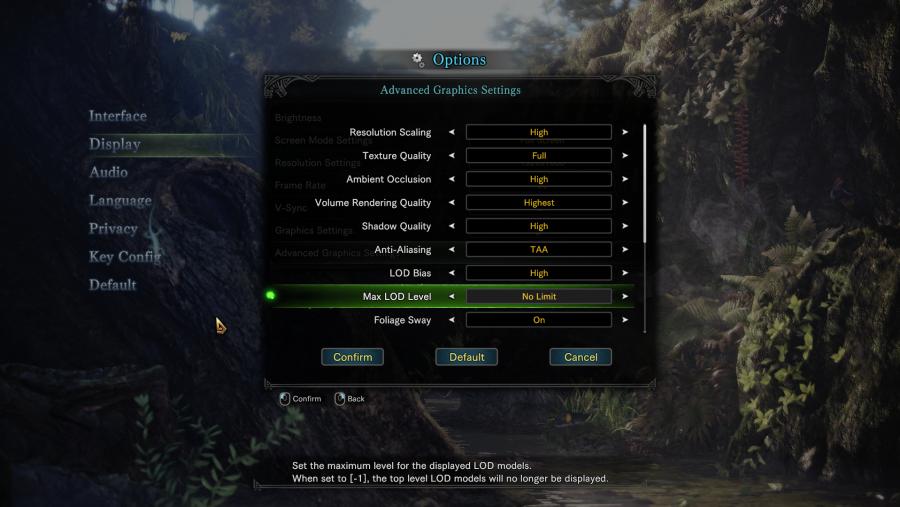 Mosnter Hunter World PC graphics options