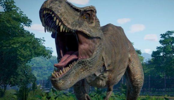 jurassic world evolution will shrink t rexes in its big september