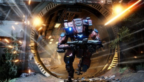 A titan charges forward in Titanfall 2, one of the best multiplayer games