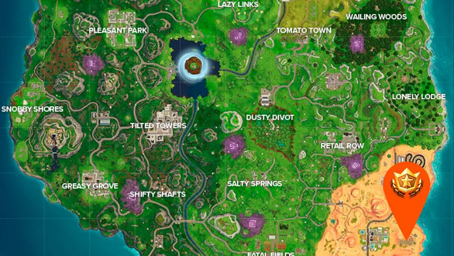 Fortnite Hunting Party week 1 location map
