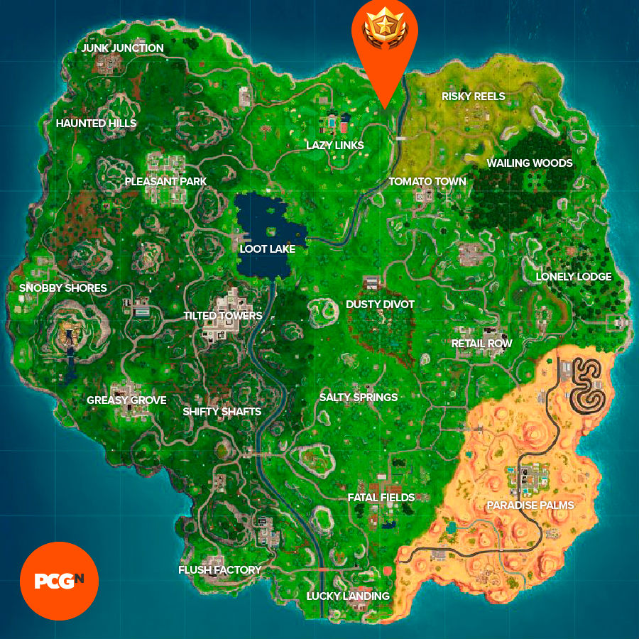 Fortnite search between covered bridge waterfall 9th green location map