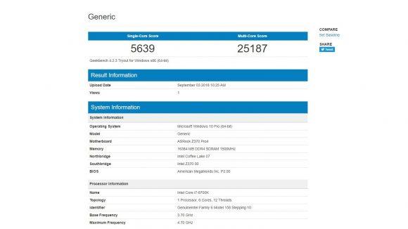 Intel Core i7 8700K performance