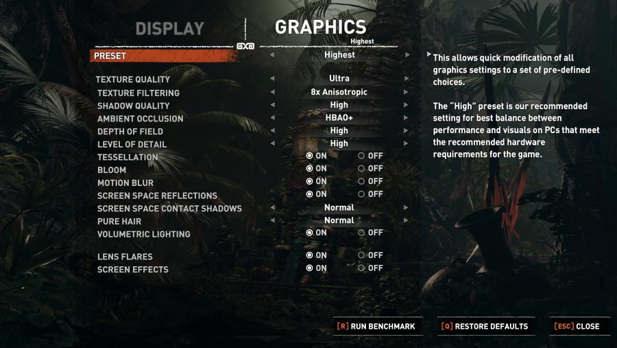 Shadow of the Tomb Raider graphics menu