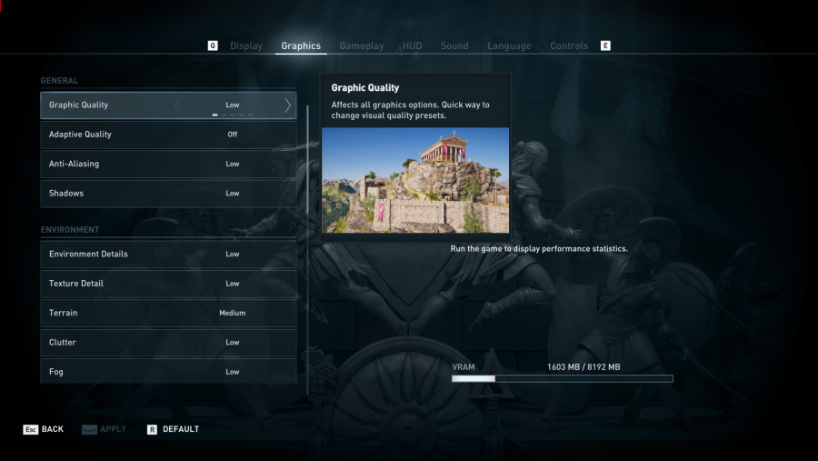 Assassin's Creed Odyssey PC graphics options