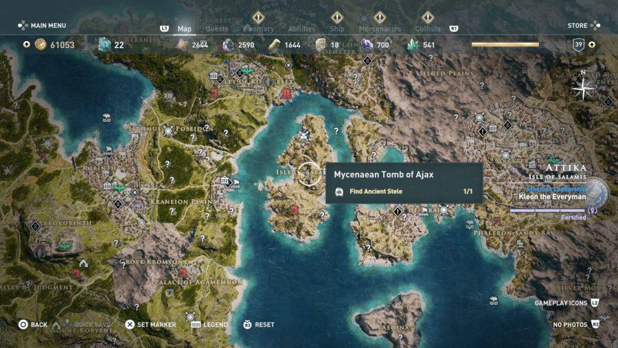 All Assassins Creed Odyssey Tomb locations - Mycenaean tomb of ajax