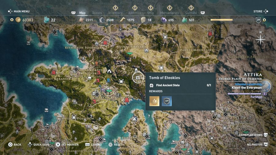 All Assassins Creed Odyssey Tomb locations - Tomb of Eteokles
