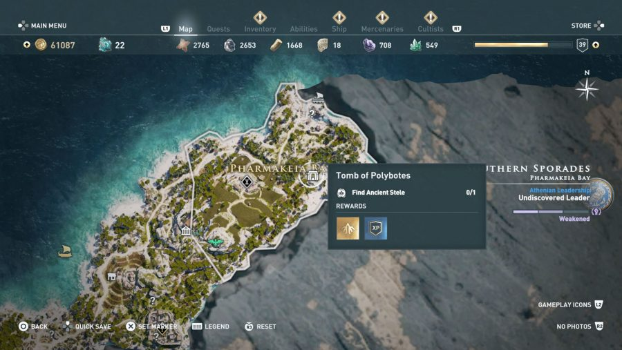 All Assassins Creed Odyssey Tomb locations - Tomb of Polybotes