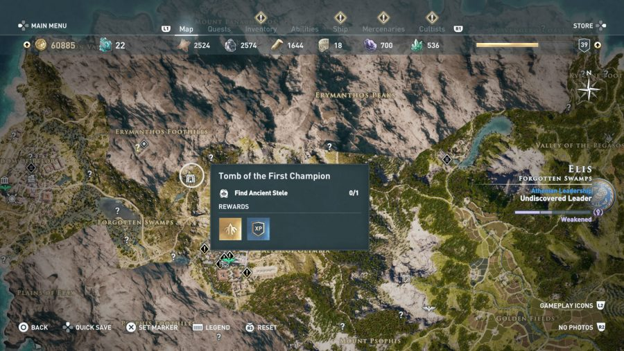 All Assassins Creed Odyssey Tomb locations - Tomb of the first champion