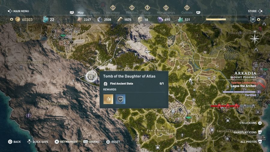 All Assassins Creed Odyssey Tomb locations - Tomb of the daughter of atlas