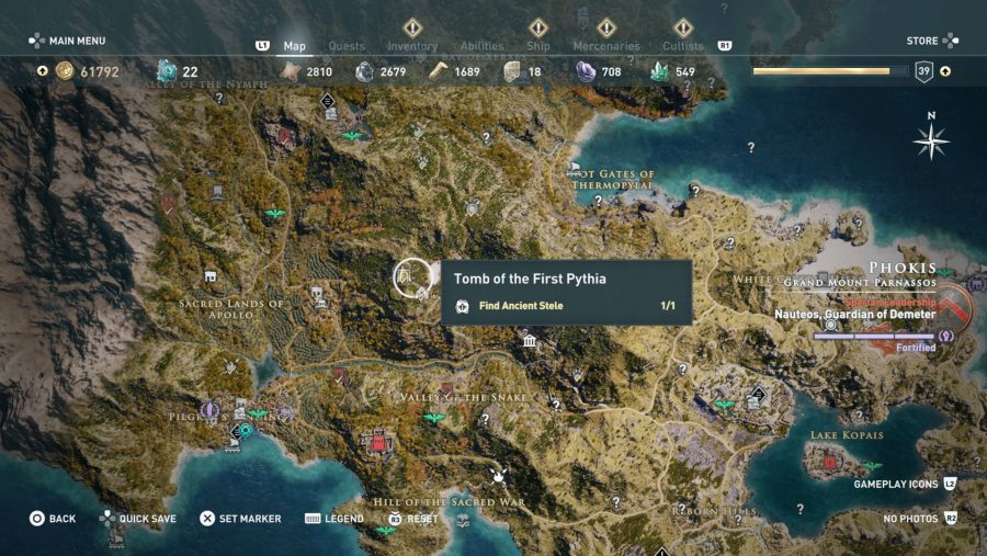 All Assassins Creed Odyssey Tomb locations - Tomb of the first pythia