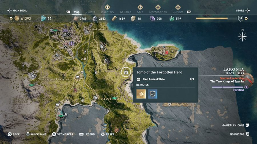 All Assassins Creed Odyssey Tomb locations - Tomb of the forgotten hero