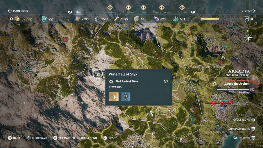 All Assassins Creed Odyssey Tomb locations - Waterfall of Styx